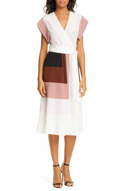 DVF Ingrid Colorblock Silk Wrap Dress