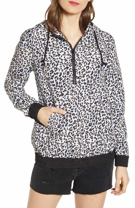 Vigoss Leopard Print Quarter Zip Water Resistant Rain Coat by VIGOSS