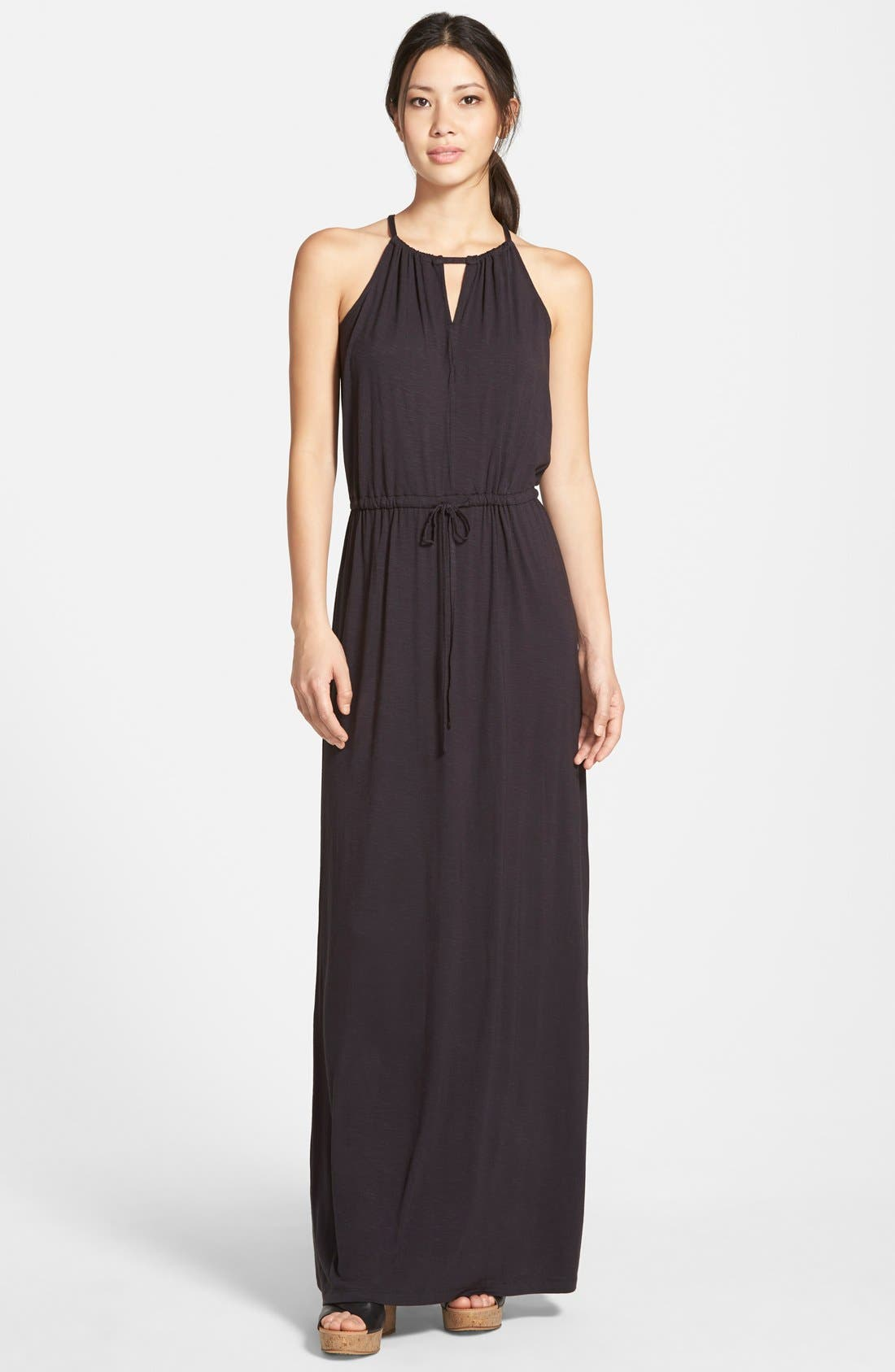 Alternate Image 1 Selected - Caslon® Keyhole Halter Style Maxi Dress (Regular & Petite)