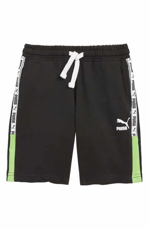 75cfbd409392 PUMA Logo Tape Fleece Shorts (Little Boys)