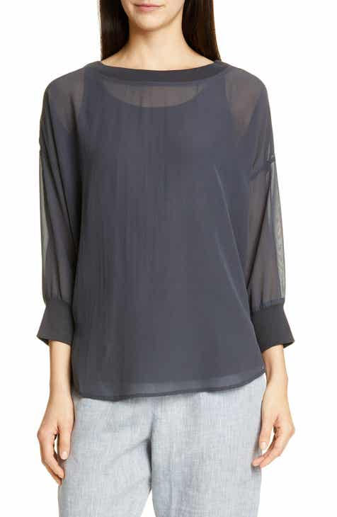 9eb622a76b107 Eileen Fisher Sheer Bateau Neck Silk Top