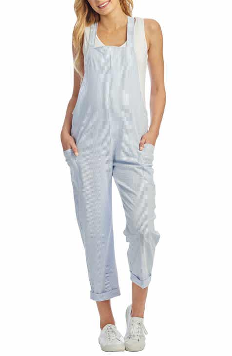 12d73ba7c6a67e Everly Grey Nani Maternity Nursing Seersucker Overalls