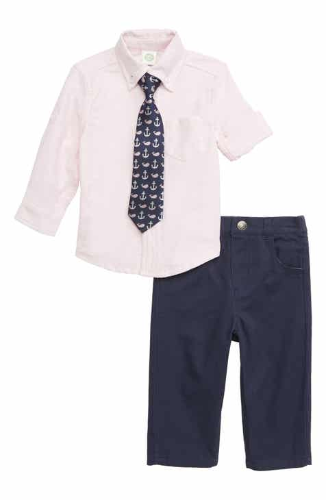 Little Me Oxford Shirt, Pants & Tie Set (Baby)