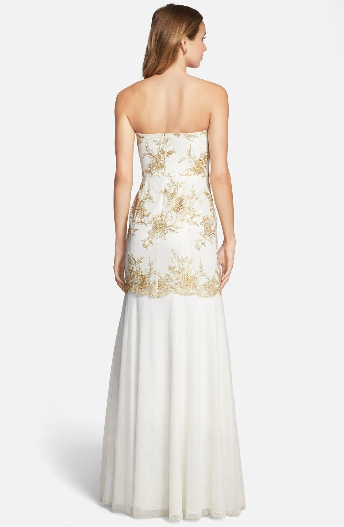 Alternate Image 2  - Hailey by Adrianna Papell Embroidered Mermaid Gown