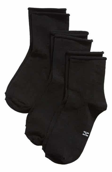 Hue 3-Pack Ultra Lite Roll Top Shortie Socks by HUE