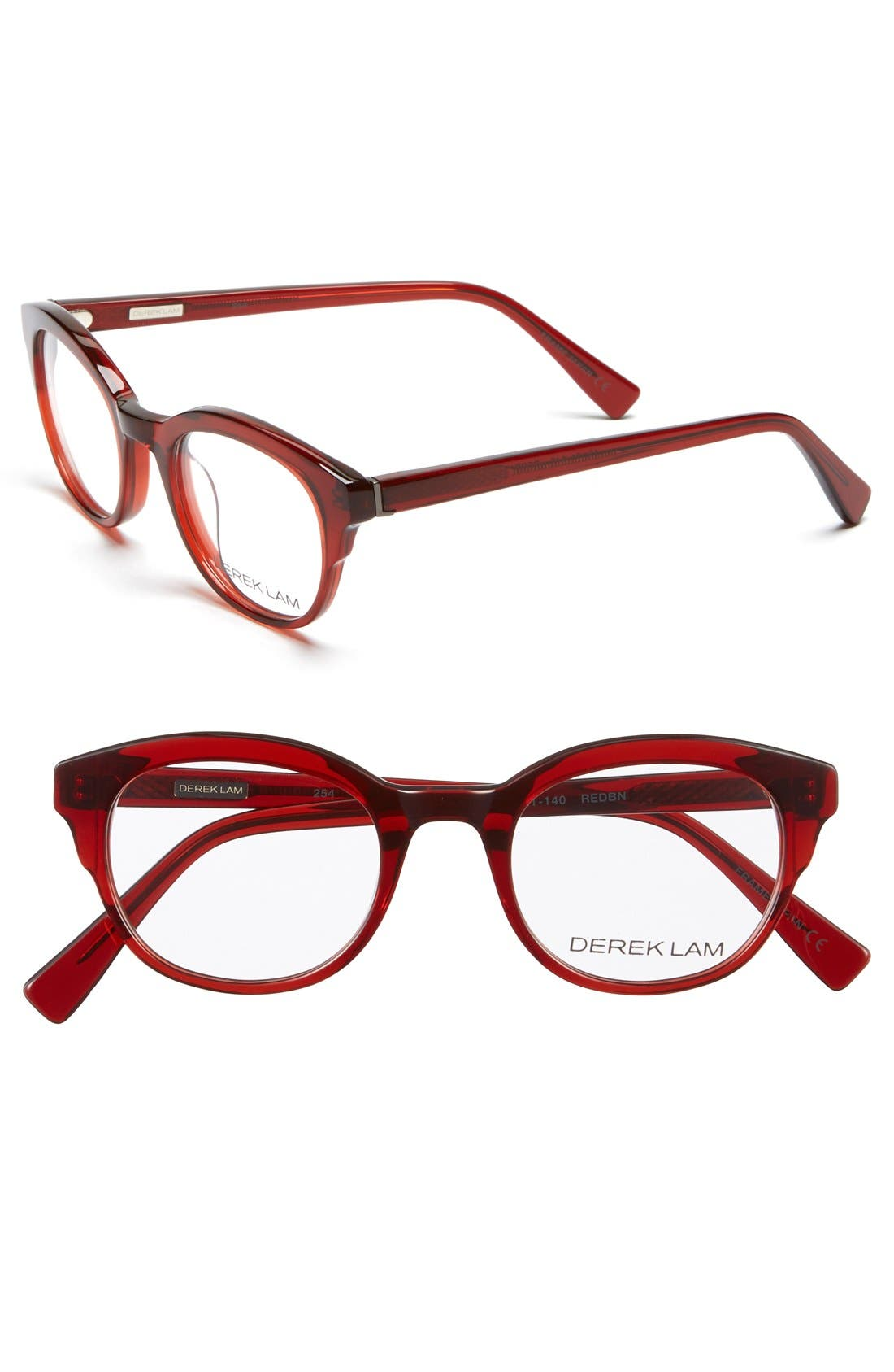 46mm Optical Glasses,                         Main,                         color, Red/ Brown