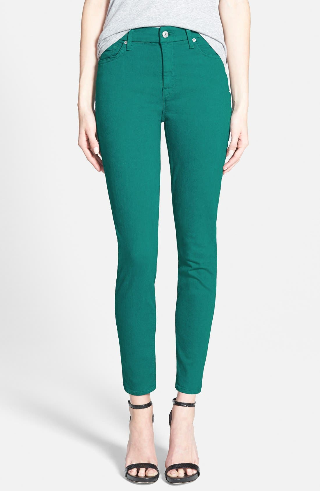 Main Image - 7 For All Mankind® High Rise Ankle Skinny Jeans (Teal Green)