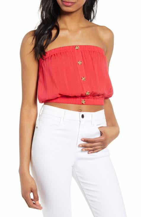 a867fa0cff7 HIATUS Button Front Crop Tube Top
