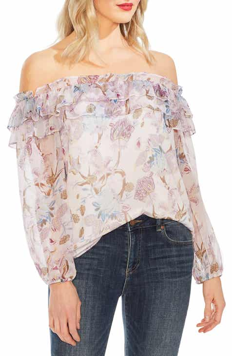 792486345e4422 Vince Camuto Poetic Blooms Off the Shoulder Top (Regular   Petite)