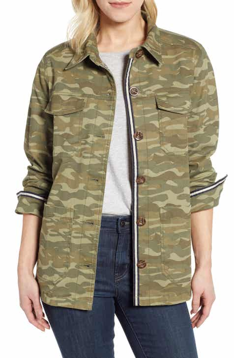 Caslon® Twill Camo Shirt Jacket (Regular & Petite) by CASLON
