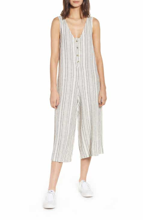 BP. Button Front Stripe Linen Blend Jumpsuit (Regular & Plus Size) by BP