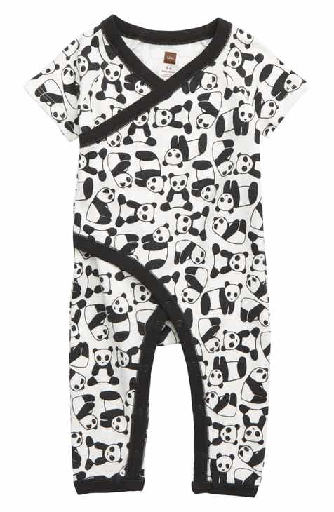 63d99248001 Tea Collection Panda Faux Wrap Romper (Baby)