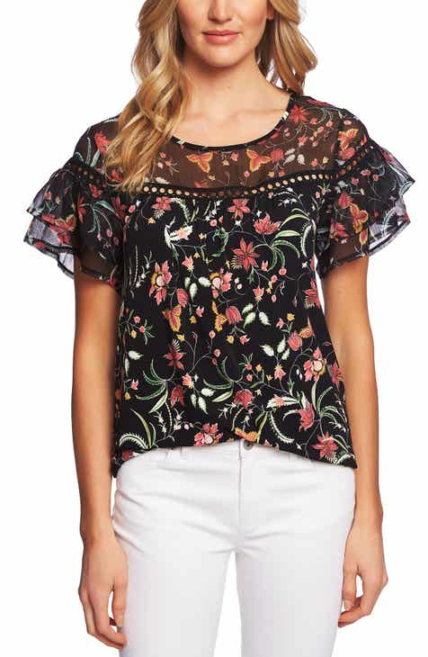 1bb6641ecadf3 CeCe Mixed Ruffle Top