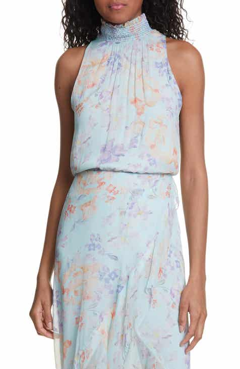 ca2969c13 Alice + Olivia Annmarie Smock Detail High Neck Top