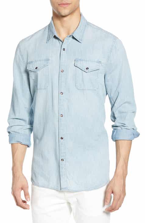 09102dc0a8 John Varvatos Star USA Marshall Slim Fit Denim Shirt
