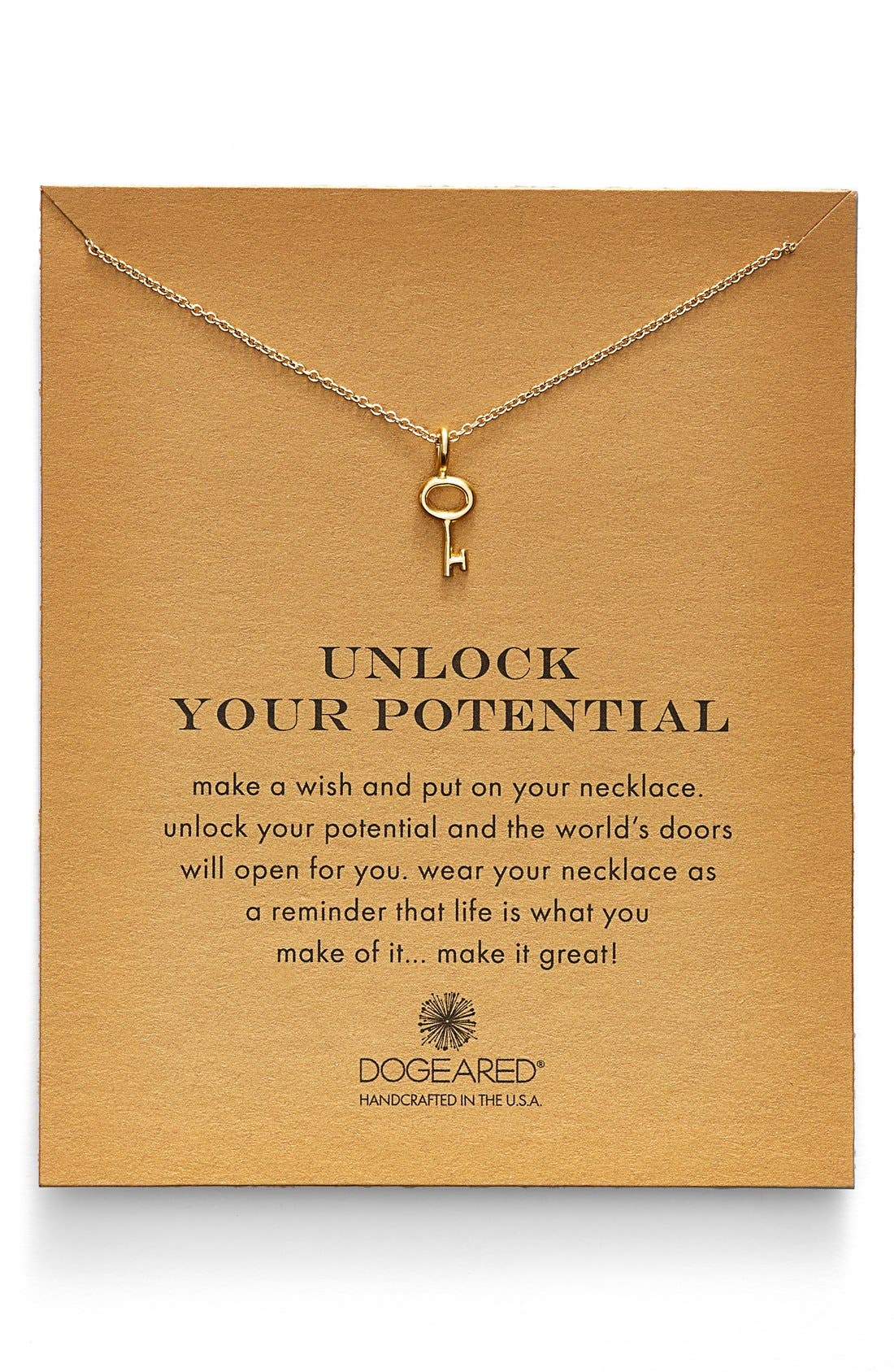 Alternate Image 1 Selected - Dogeared 'Reminder - Unlock Your Potential' Key Pendant Necklace