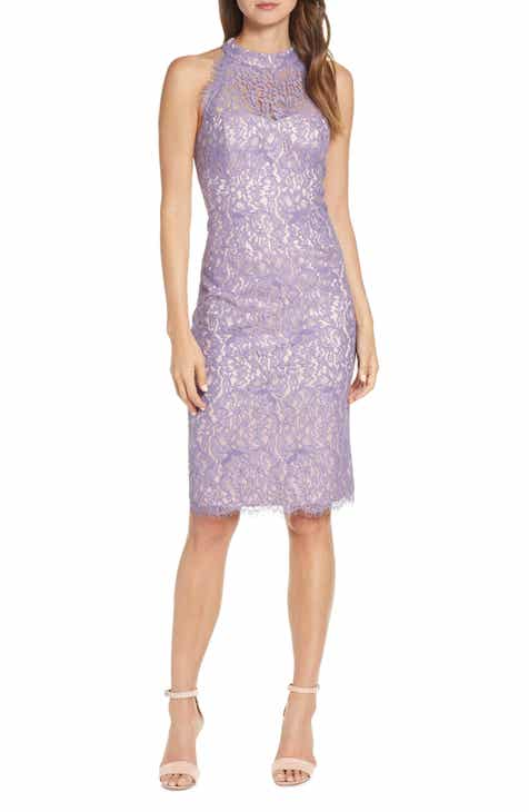 46d06cfafbe Eliza J Lace Halter Neck Sheath Dress (Regular   Petite)