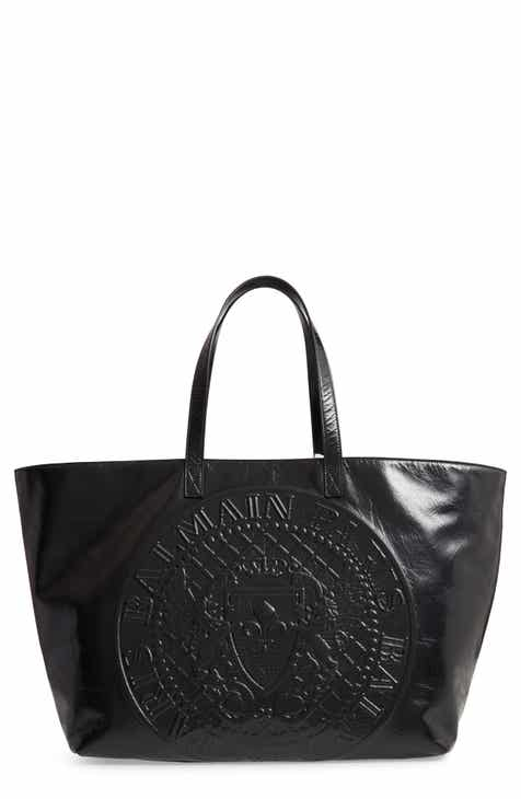 b85016a0f41d Balmain Extra Large Embossed Coin Leather Tote