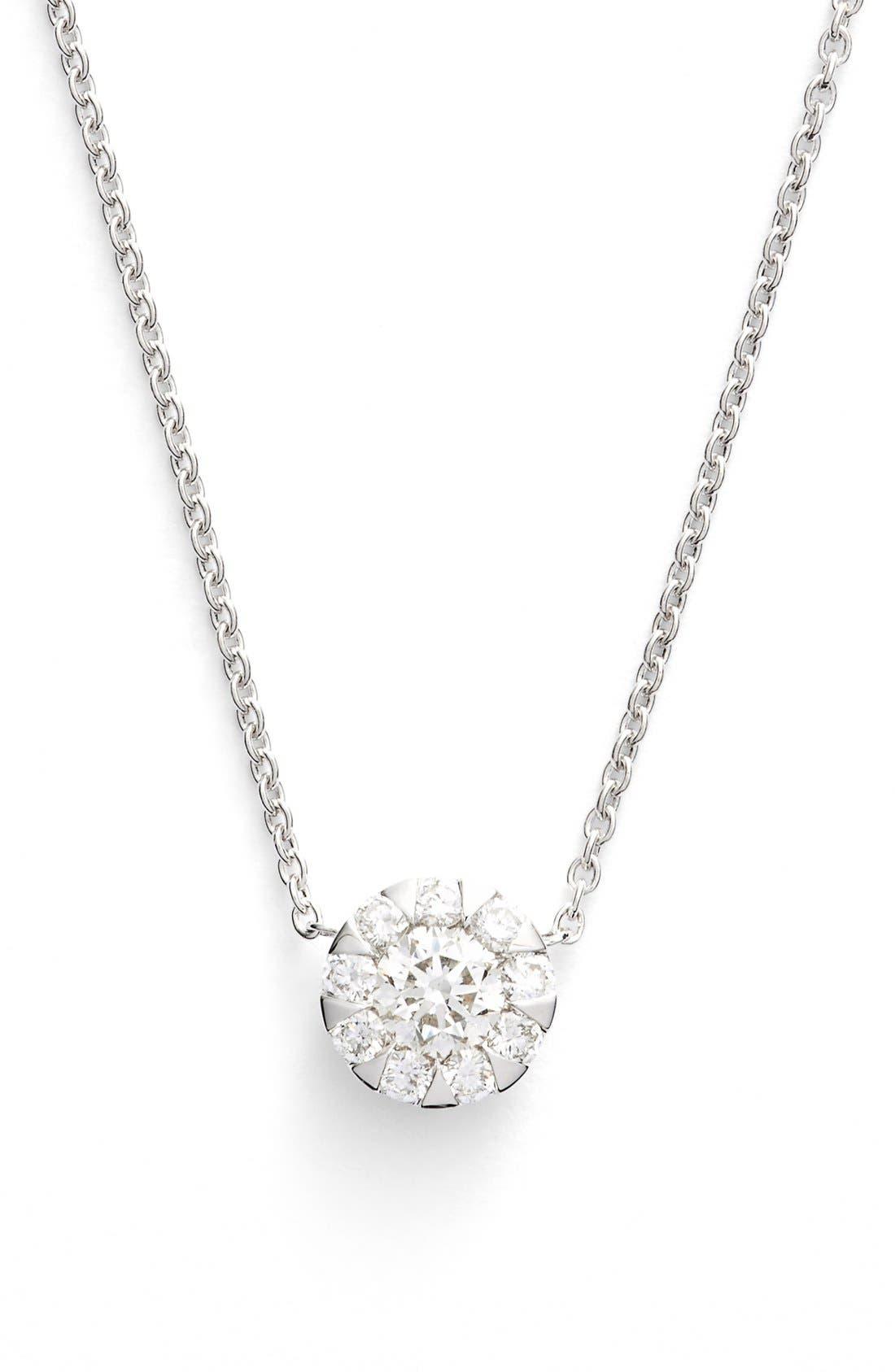 'Sunburst' Diamond Pendant Necklace,                         Main,                         color, White Gold