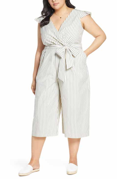 169cf565f138 1901 Pleated Faux Wrap Jumpsuit (Plus Size)