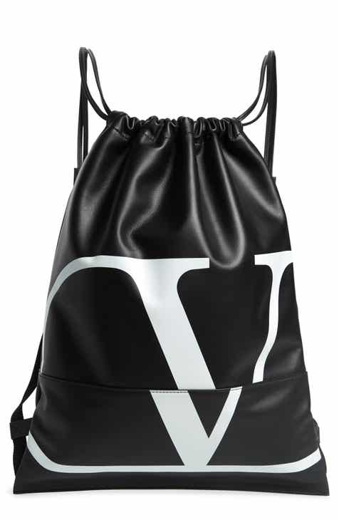 942d19396b Valentino V-Logo Leather Drawstring Backpack