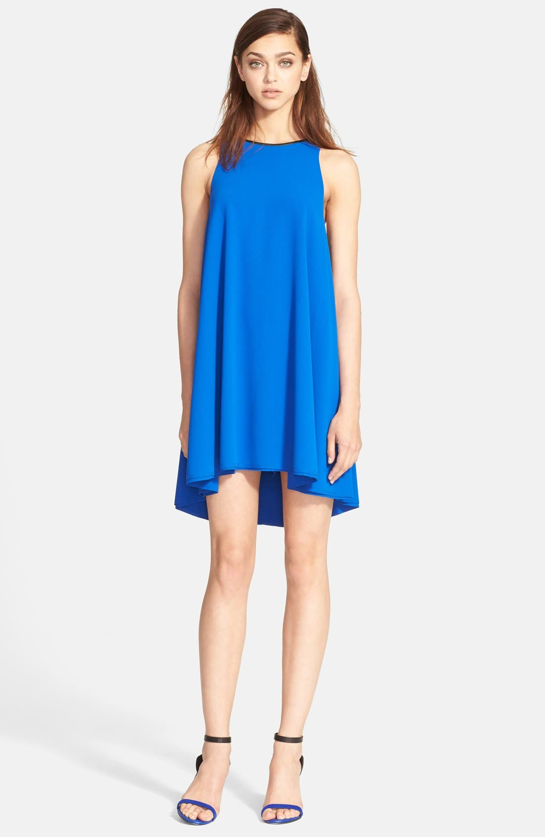 Alternate Image 1 Selected - T by Alexander Wang Leather Trim Trapeze Crepe Dress