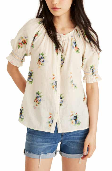 22f882fcfa0e7 Madewell Classic Corsage Smocked Button-Down Top