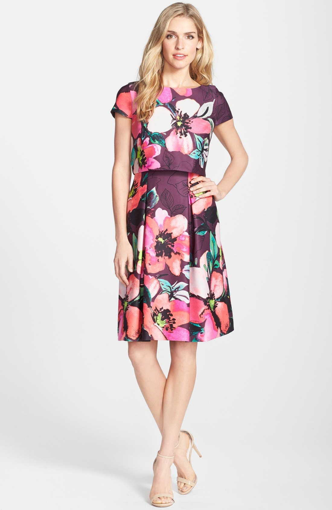 Alternate Image 3  - Vince Camuto Floral Print Scuba Fit & Flare Popover Dress (Regular & Petite)