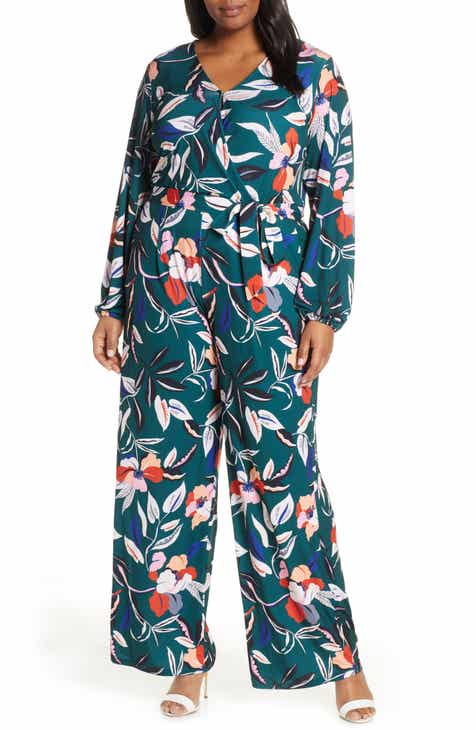 dec97afd53c ELOQUII Floral Wide Leg Jumpsuit (Plus Size)