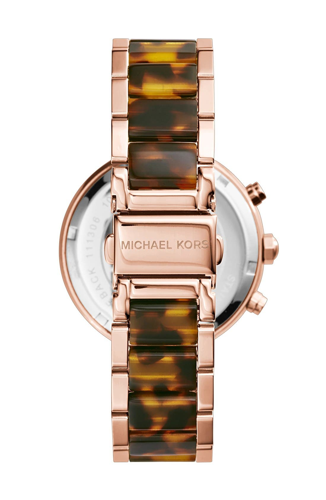Alternate Image 3  - Michael Kors 'Parker' Blush Acetate Link Chronograph Watch, 39mm