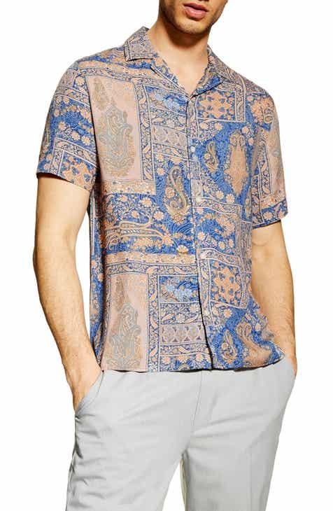 aaec2f43c46 Topman Paisley Print Camp Shirt