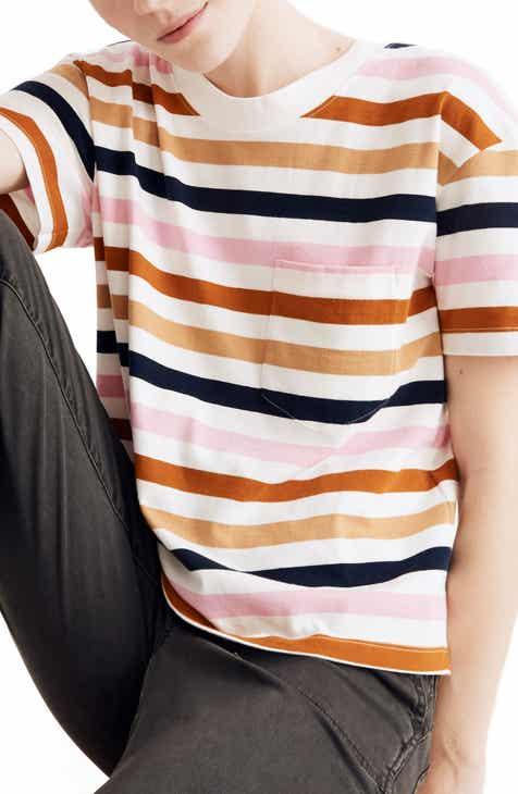 d6e72232fce804 Madewell Beatrice Stripe Easy Crop Tee (Regular   Plus Size)