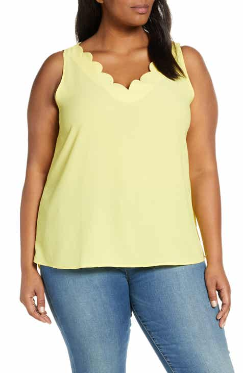 1db2e673767e7 Gibson x Living in Yellow Savannah Scalloped V-Neck Tank (Plus Size)  (Nordstrom Exclusive)