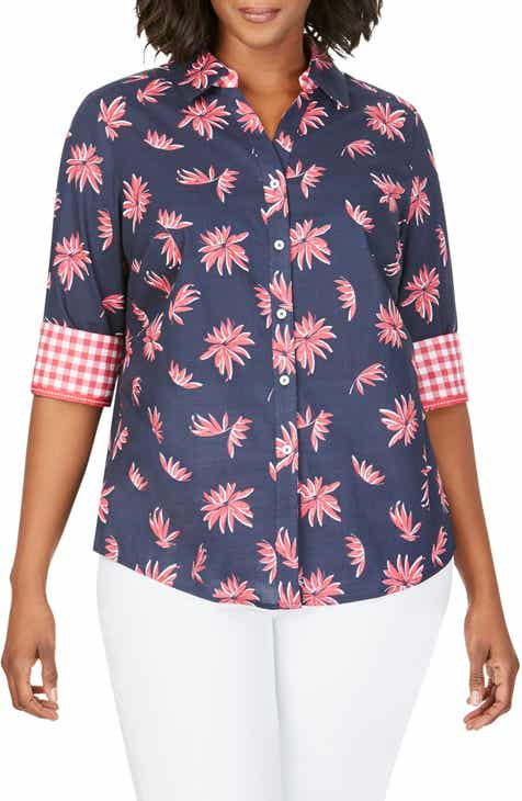 db12b7b3 Foxcroft Mary Nautical Floral Contrast Cuff Cotton Shirt (Plus Size)