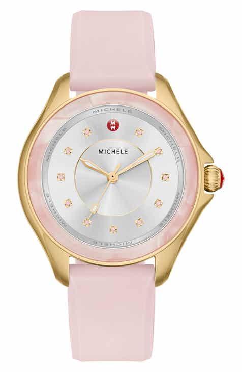 d94606092 MICHELE Cape Topaz Dial Silicone Strap Watch, 38mm