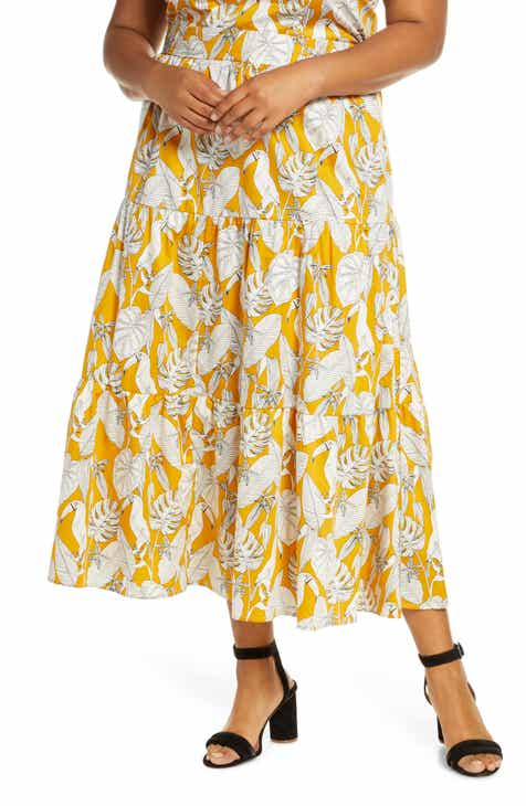 ELOQUII Tropical Print Tiered Cotton Maxi Skirt (Plus Size) by ELOQUII