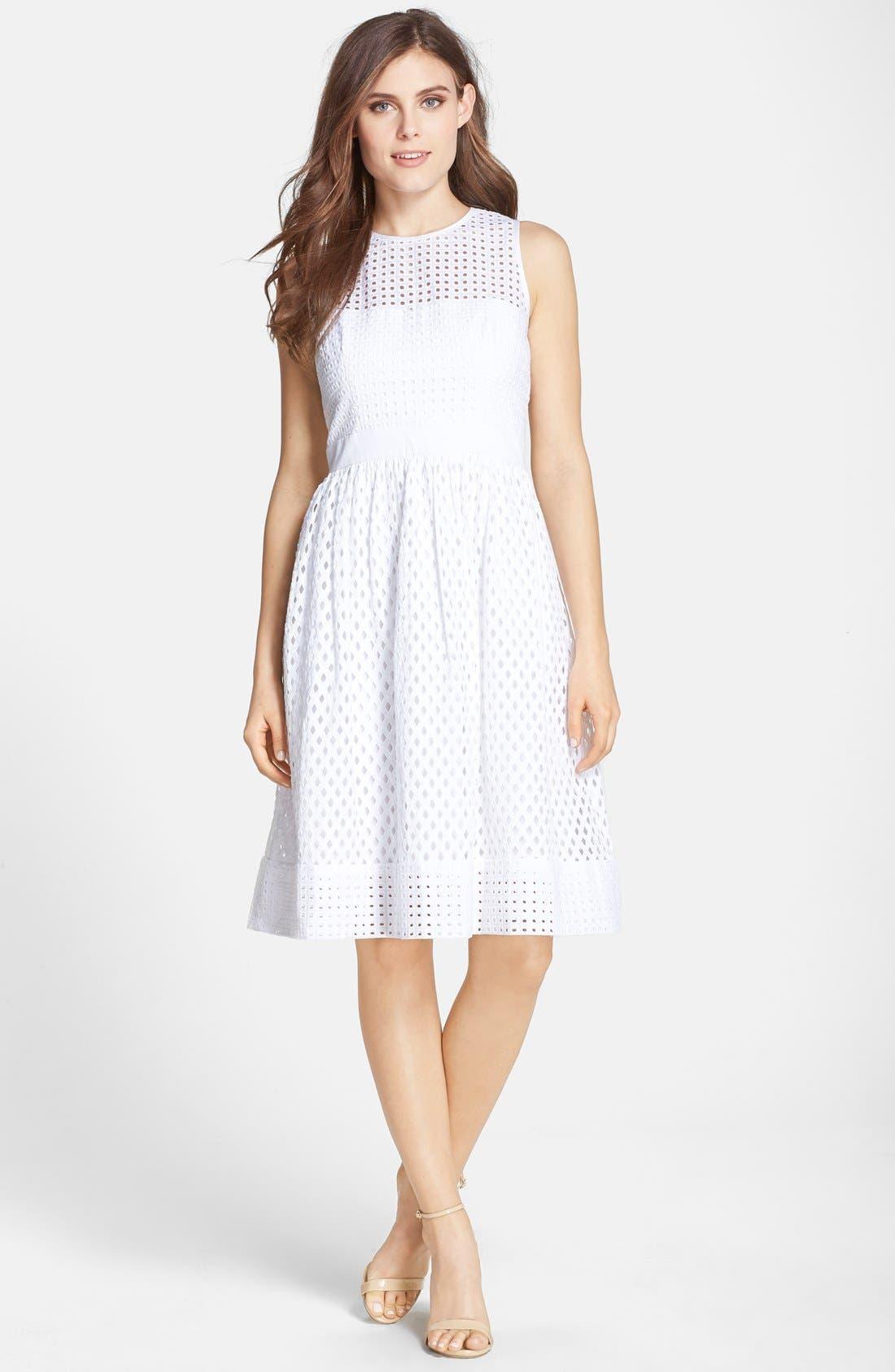 Alternate Image 3  - Eliza J Cotton Eyelet Fit & Flare Dress (Regular & Petite)