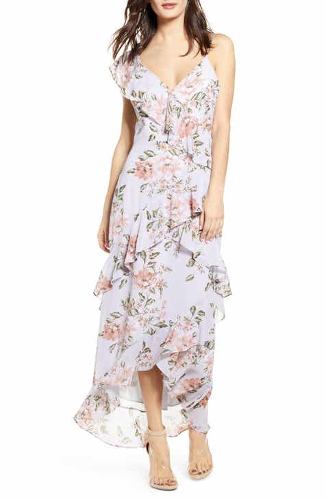38ceec1822f1 WAYF Morgana Floral Tiered Ruffle Asymmetrical Sleeve Maxi Dress. $99.00.  Product Image
