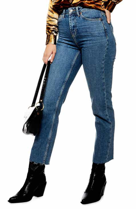bfb86008917 Topshop High Waist Raw Hem Straight Leg Jeans