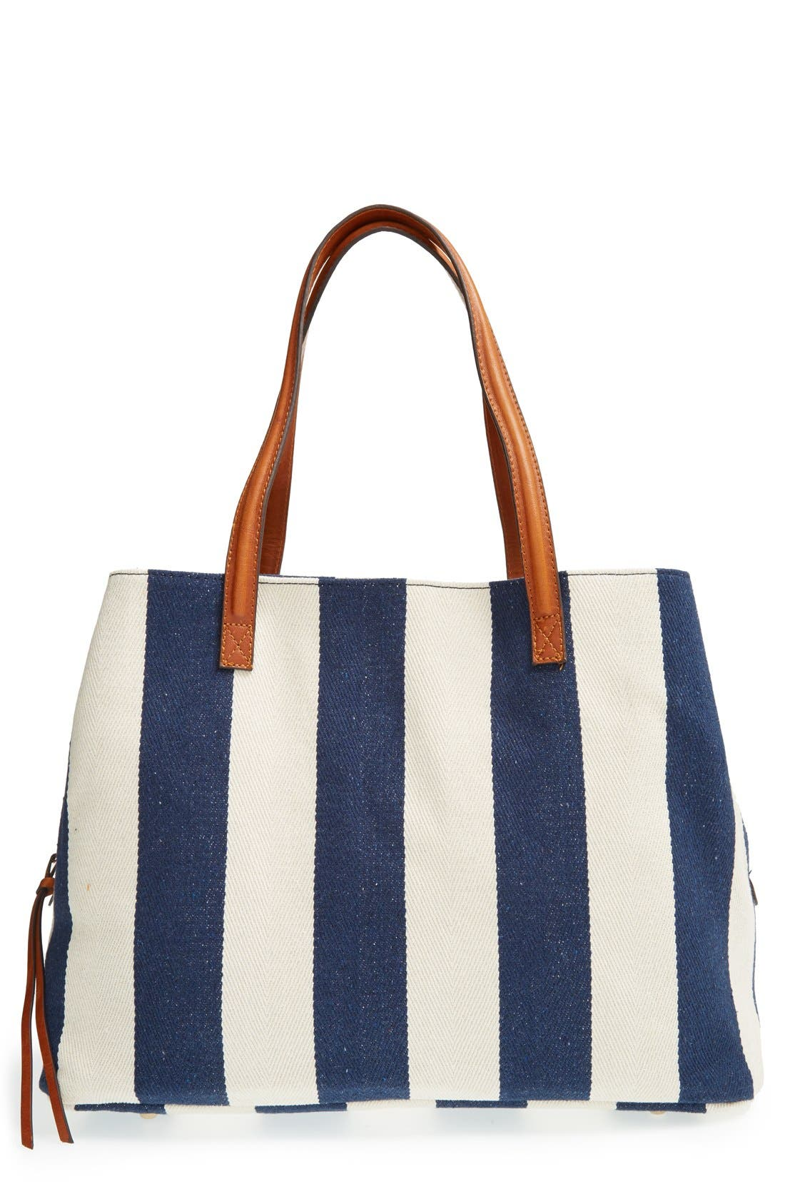 Alternate Image 1 Selected - Sole Society 'Oversize Millie' Stripe Print Tote