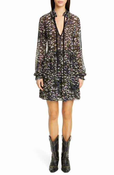 Ganni Long Sleeve Floral Print Georgette Dress