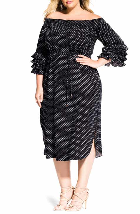 City Chic Polka Dot Off the Shoulder Dress (Plus Size)