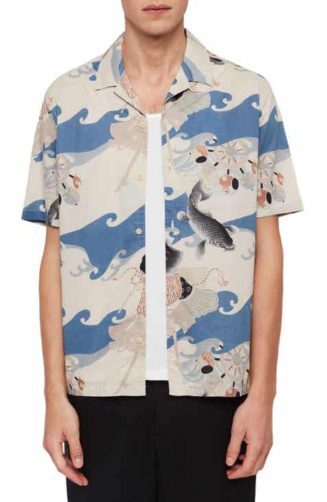ef1c509c ALLSAINTS Pisces Slim Fit Print Short Sleeve Button-Up Camp Shirt