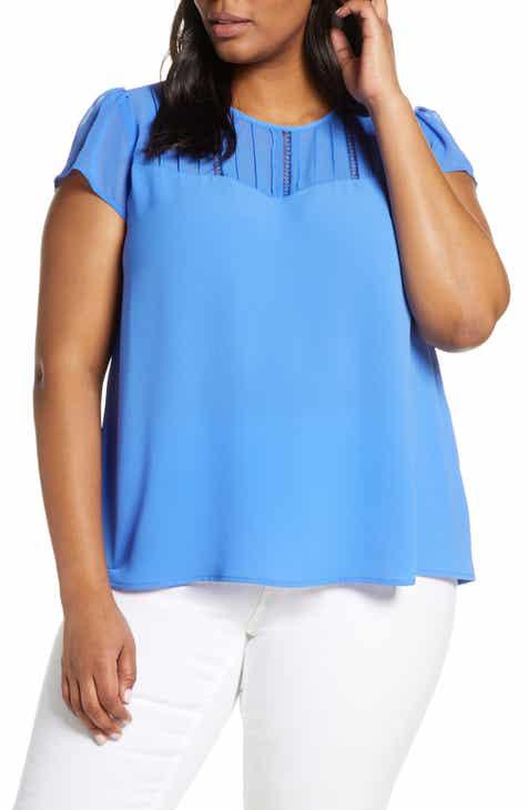 884d12af9 CeCe Flutter Sleeve Top (Plus Size)