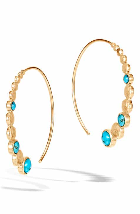 decf7fa98 John Hardy Dot Hammered Turquoise Threader Hoop Earrings