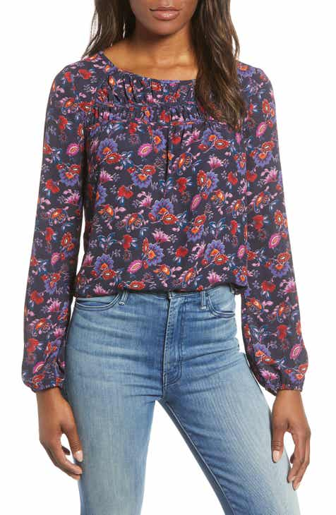 27acb9d801f Gibson Print Ruched Long Sleeve Blouse (Regular & Petite)
