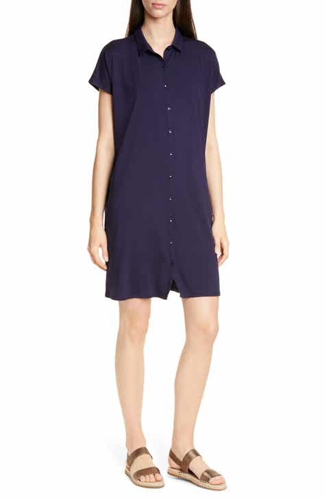 Eileen Fisher Tencel® Lyocell Blend Shirtdress (Regular & Petite)