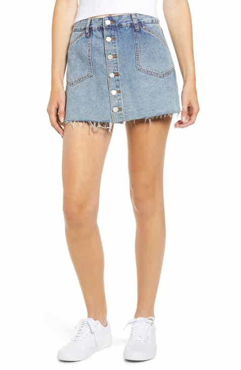 BLANKNYC Button Front Denim Miniskirt