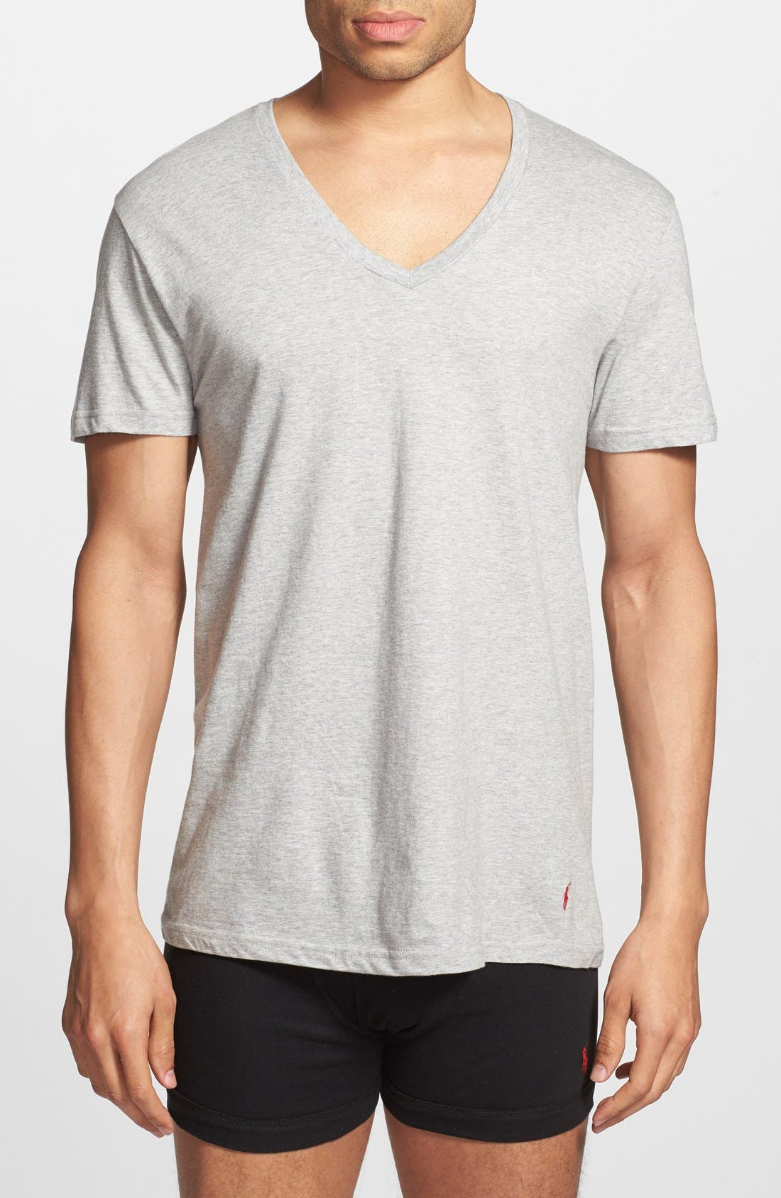 3-Pack V-Neck T-Shirts,                         Main,                         color, Black/ Grey/ Charcoal