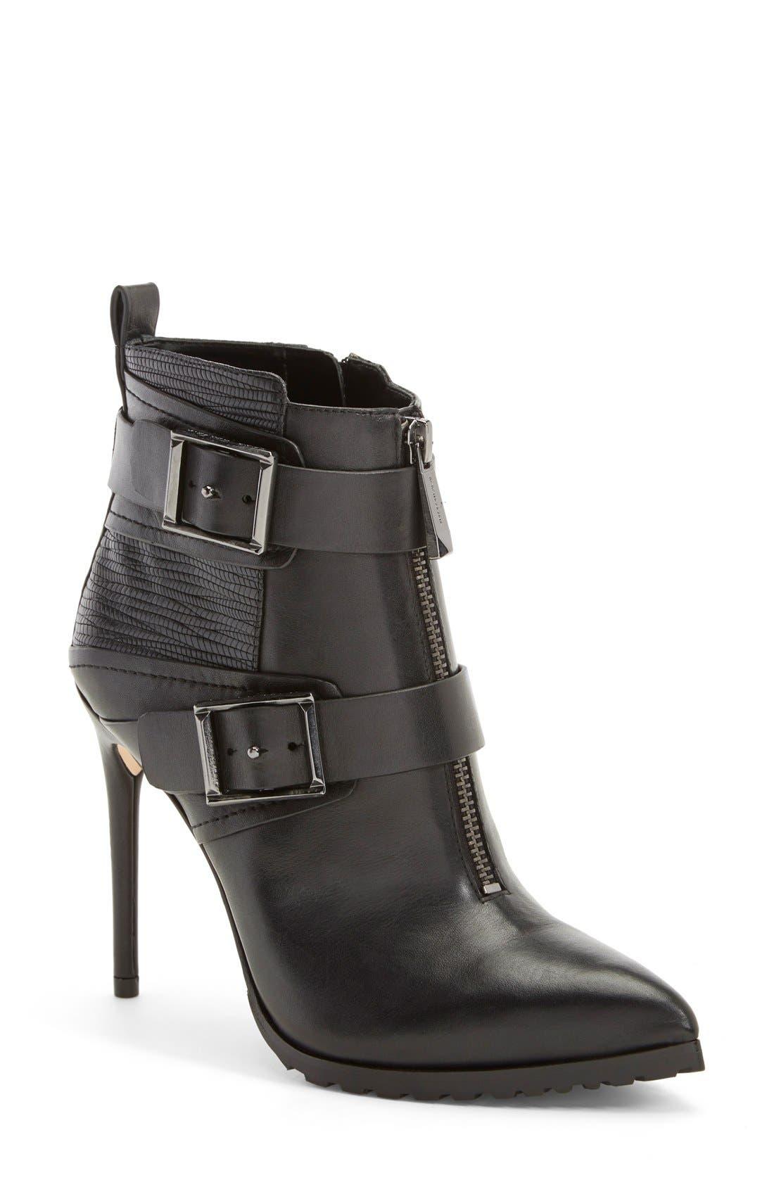 'Alec' Bootie (Women),                         Main,                         color, Black Leather